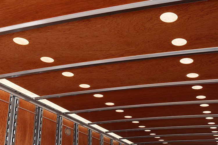 Plywood Ceiling Liner w/ Skylights